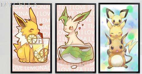Three Diamond Paintings with different Pokemon.