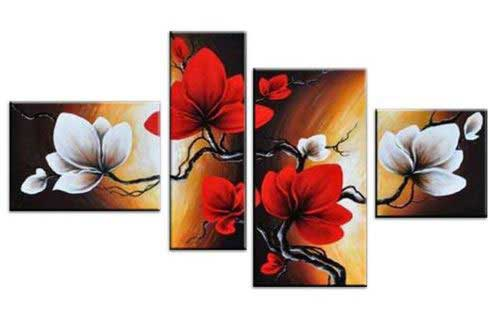 four-part painting of flowers