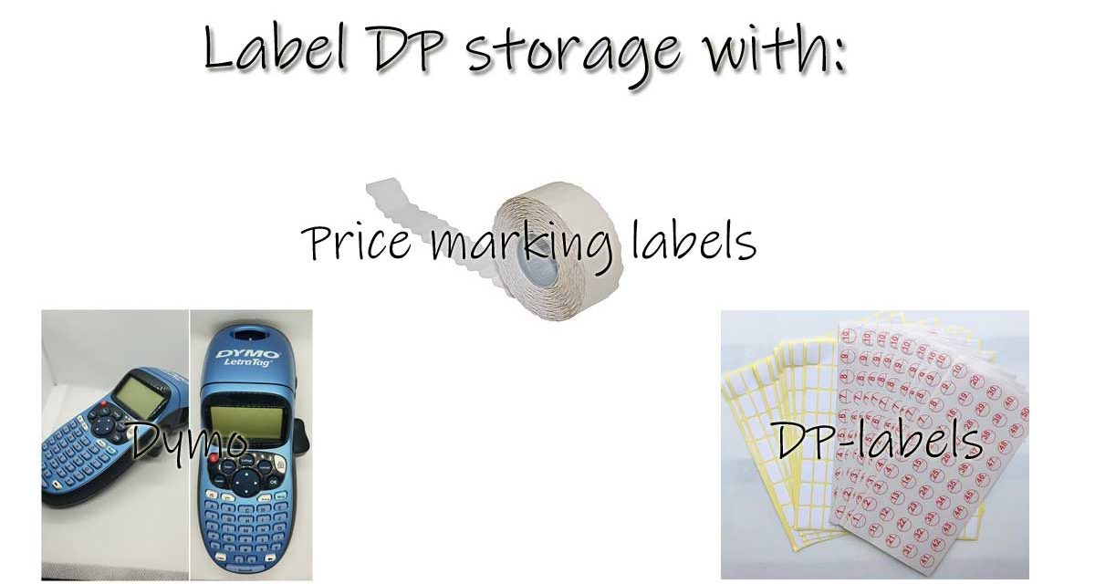 Label storage boxes and zip-bags