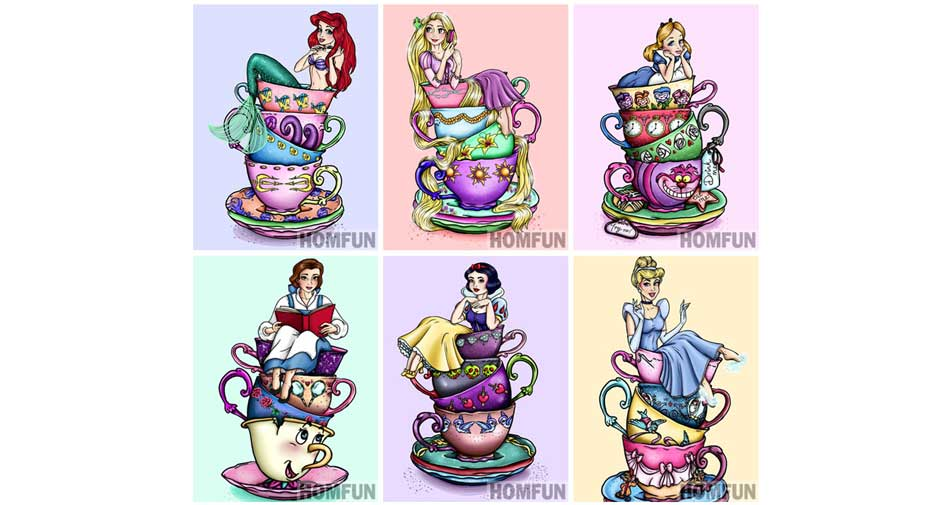 princesses in cups