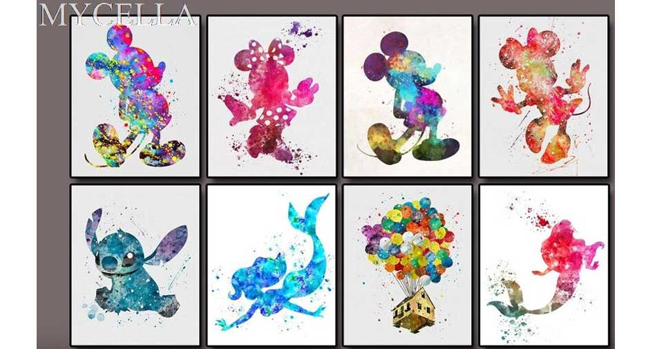 colorful Disney characters