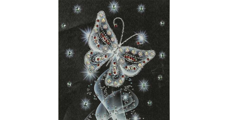 a silver butterfly with stars all around