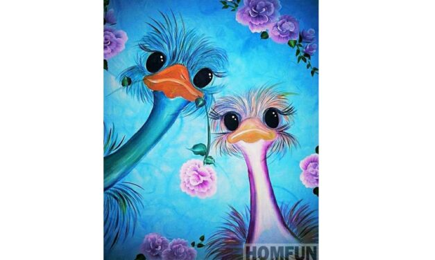 Week 13 – Ostriches with flowers
