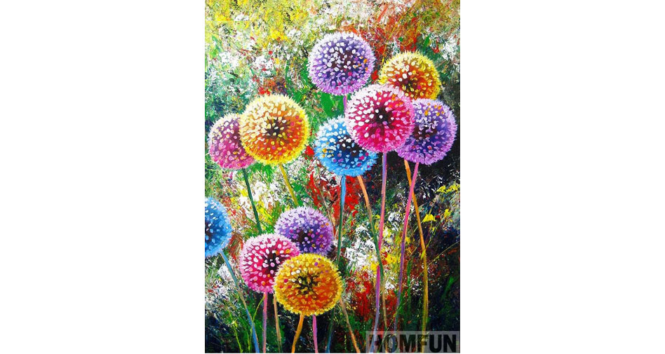 Dandelions in different colors