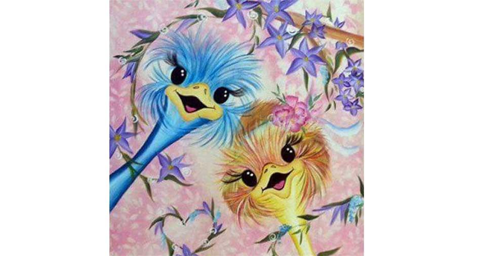 happy ostriches